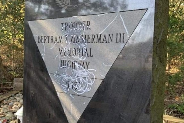 Reward offered after someone vandalized this memorial for a fallen trooper in New Jersey - help find them