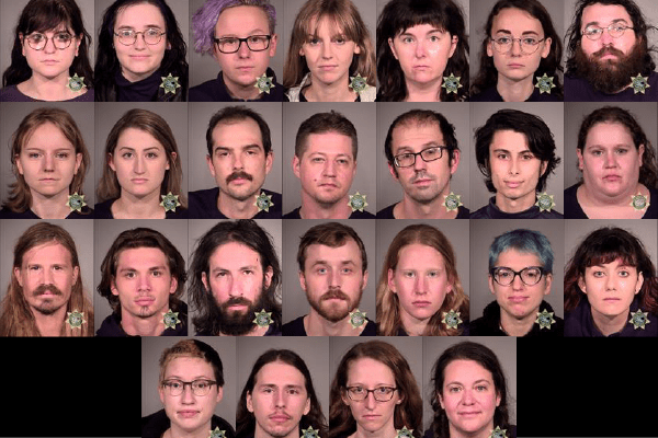 Busted: 26 arrested at protest staged outside Portland Police Bureau - here are their mugshots.