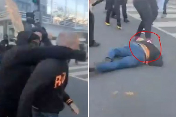 Black Lives Matter, Antifa rioters sucker punch man, knock him unconscious at Million MAGA March