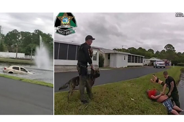 Watch: Suspected drug dealer running from cops with kids in the car drives into pond, Good Samaritans rescue children
