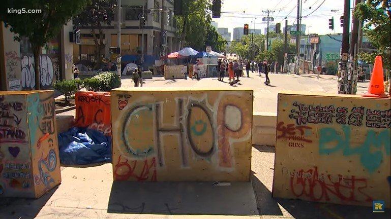 Seattle CHOP Zone - Screenshot courtesy of NBC's King5 News on YouTube