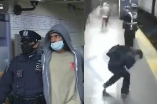 Homeless man who pushed woman onto oncoming subway arrested; victim miraculously survives