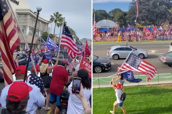Beverly Hills Massive Trump Rally  Supporters Chant  U0026quot Usa