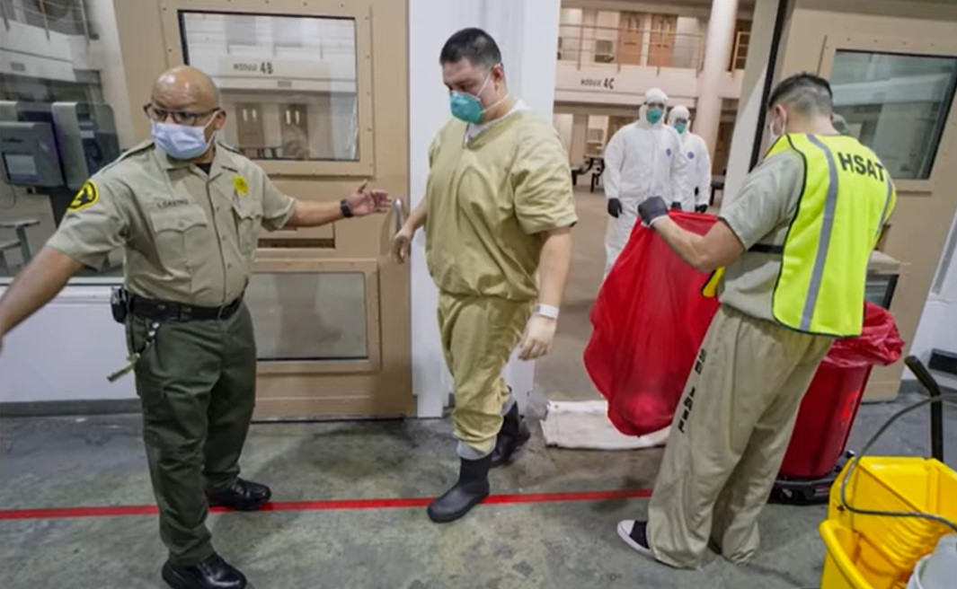 Prisoners moving to front of the vaccine line - Screenshot courtesy of PBS New Hour