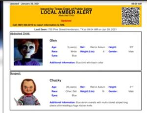 Texas DPS mistakenly issues Amber Alert with Chuckie from Child's Play as suspect