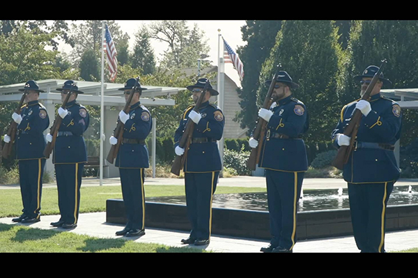 Police officers in Portland, Oregon create powerful tribute of 2020's 301 fallen officers