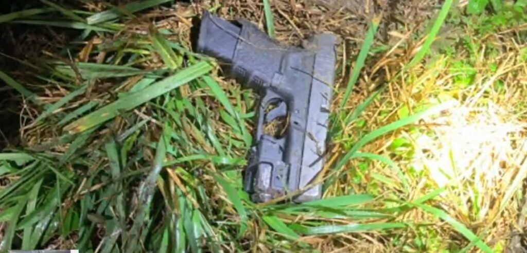Firearm recovered at pursuit crash scene - Screenshot courtesy of ABC News