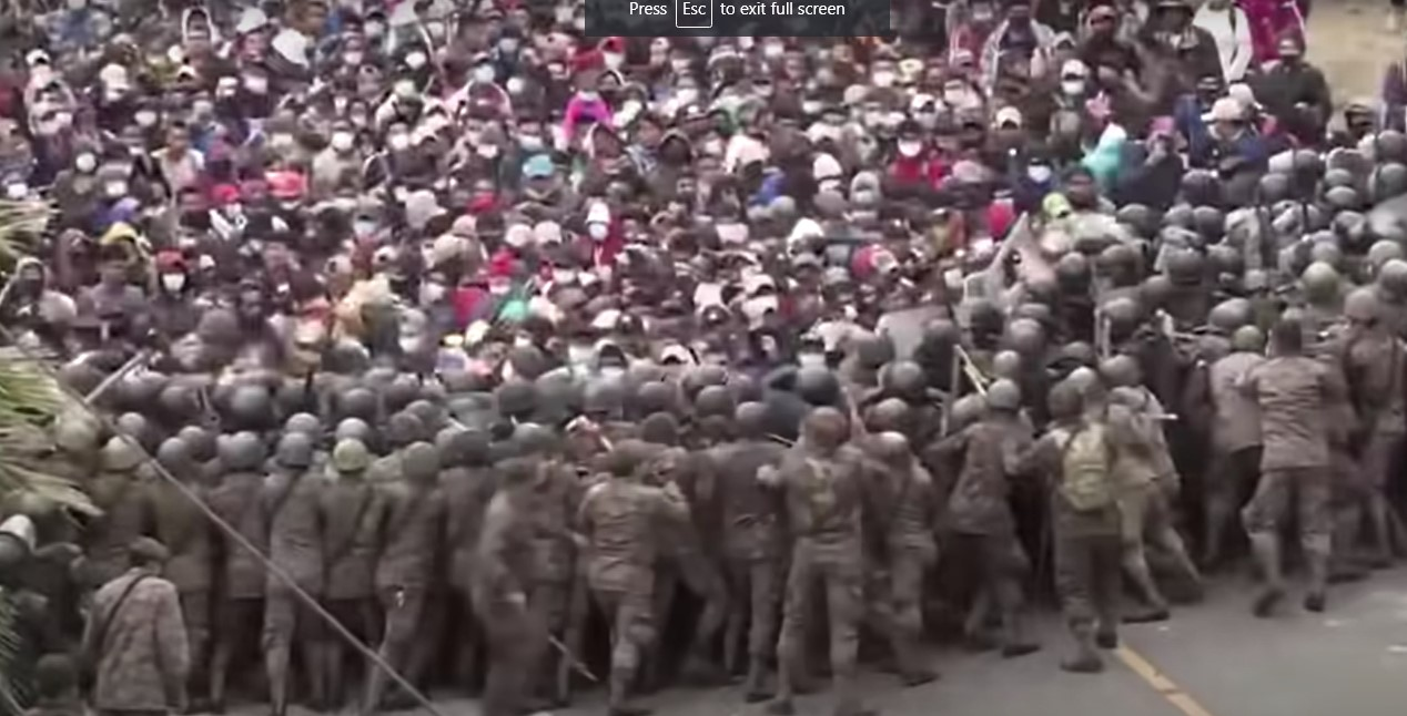 Migrant caravan pushes through border patrols en route to U.S. - Screenshot courtesy of The Hill on YouTube