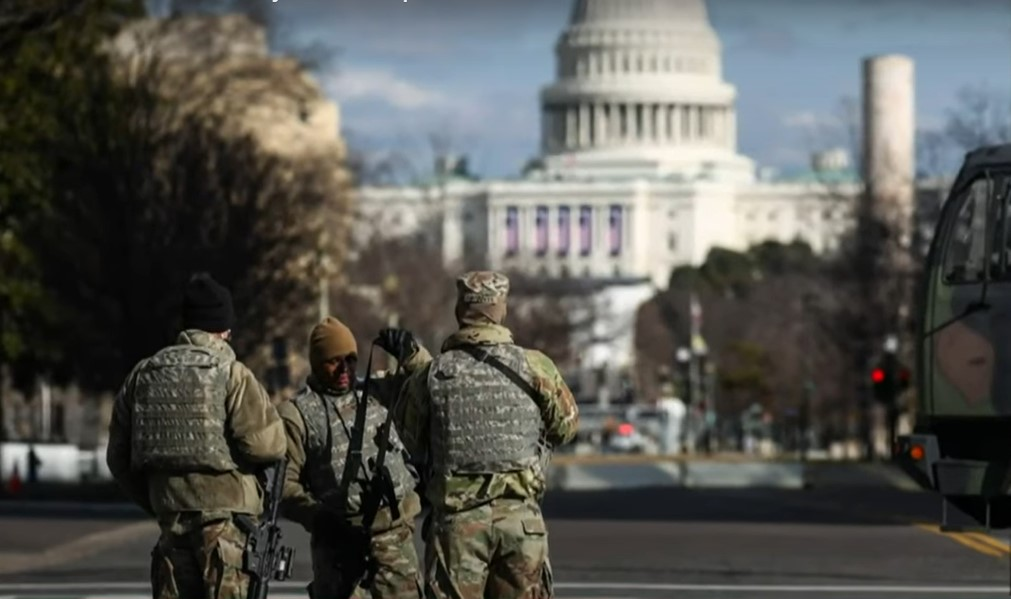 National Guard posted near the United States Capitol - Screenshot courtesy of CBS News on YouTube
