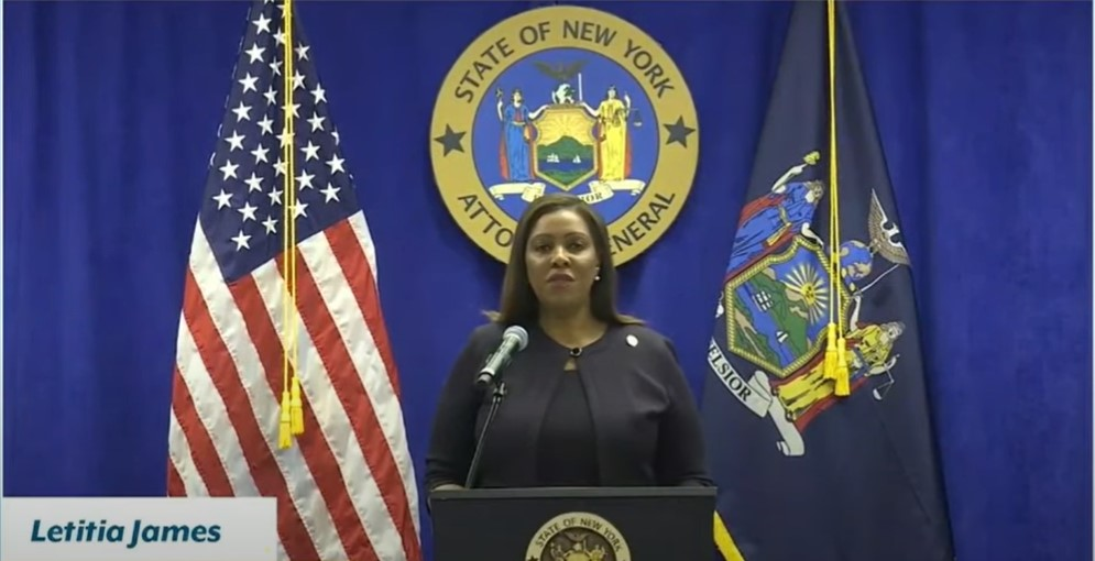 New York Attorney General Letitia James at press conference - Screenshot courtesy of NBC News on YouTube