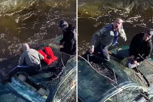 Watch: State Troopers and firefighters rescue driver of crashed vehicle in a river