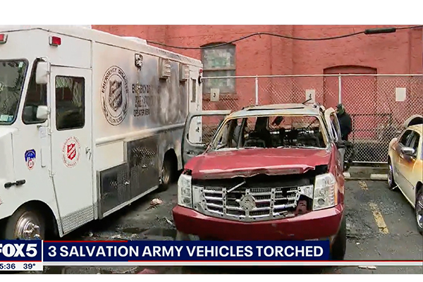 Salvation Army mobile canteen and two other vehicles torched in Mayor de Blasio's New York City