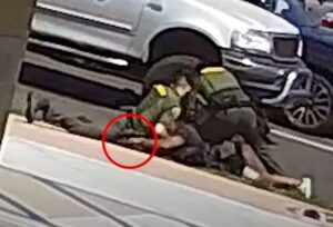 Image of suspect reaching for deputy's weapon during incident - YouTube screenshot