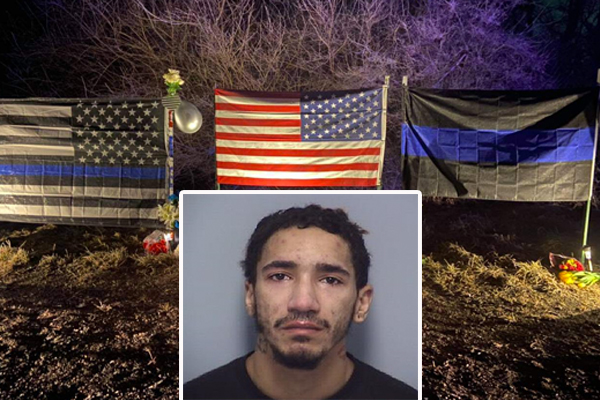 Police arrest the man who they say intentionally destroyed a memorial for a fallen police sergeant