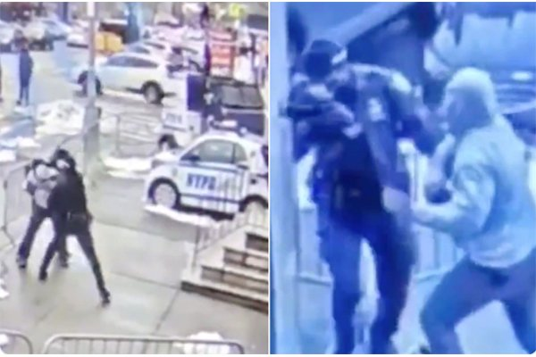 Officer violently assaulted while standing outside NYPD's Bronx precinct. This is Mayor de Blasio's NYC.