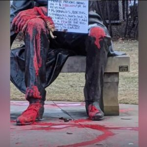 Red paint and feces used to deface Lincoln statue - Screenshot courtesy of KTVB