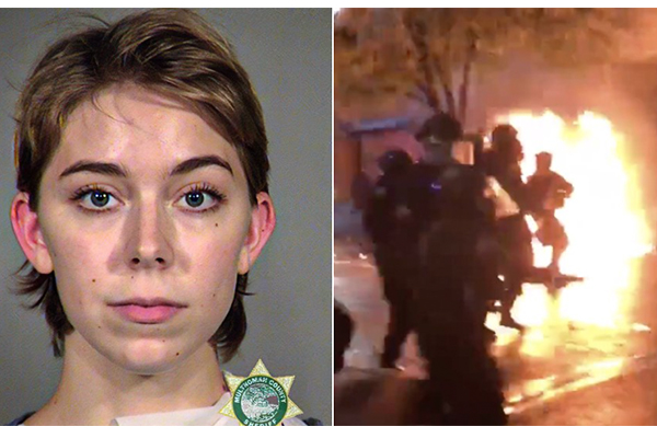 After explosives thrown at police, woman, 21, ordered to pay $45K in restitution for Portland riot damage