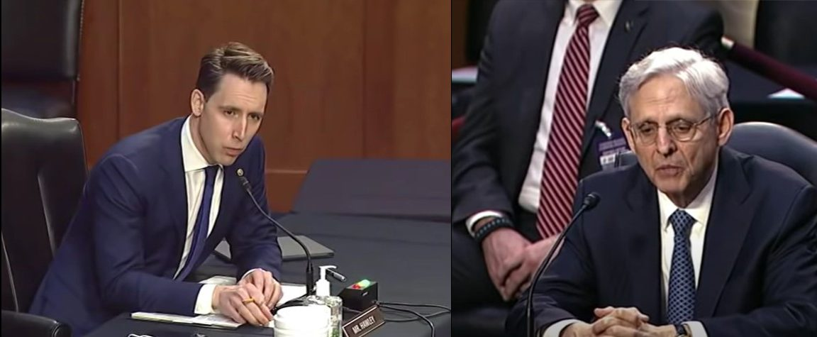 Sen. Josh Hawley questions Judge Merrick Garland at confirmation hearing - Screenshot courtesy of Forbes on YouTube