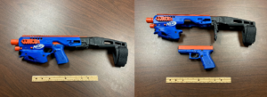 Sheriff's department seizes pistol during search warrant disguised to look like toy Nerf gun