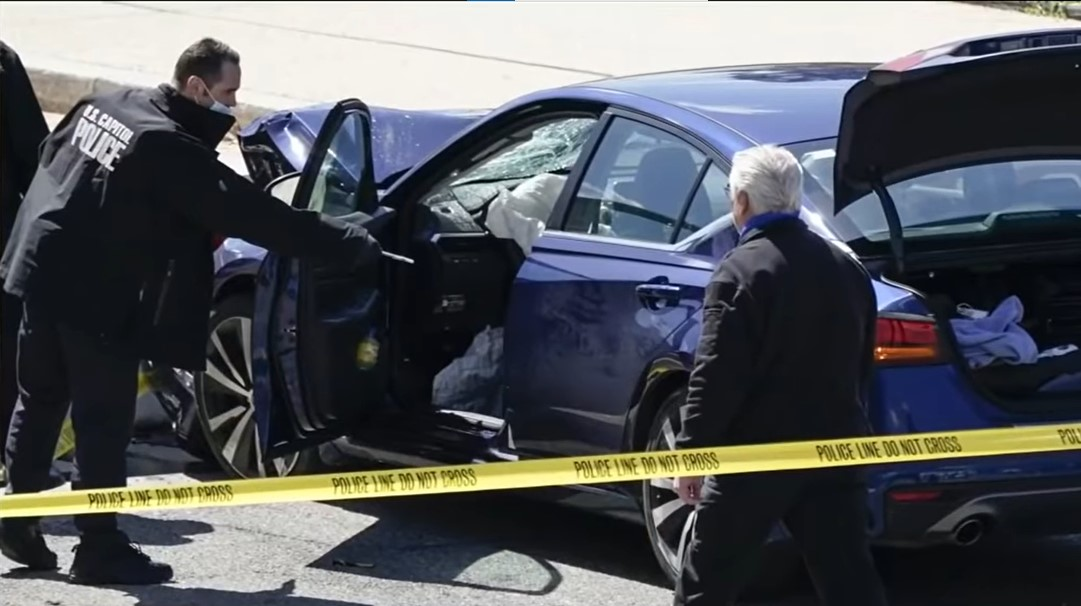 Capitol police investigater scene of car attack that killed an officer on Friday - Screenshot courtesy of WJXY on YouTube