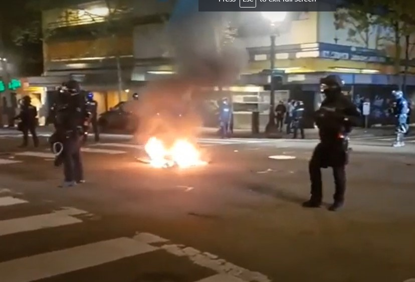 Protesters once again riot and set fires in Portland - Screenshot courtesy of PES on YouTube