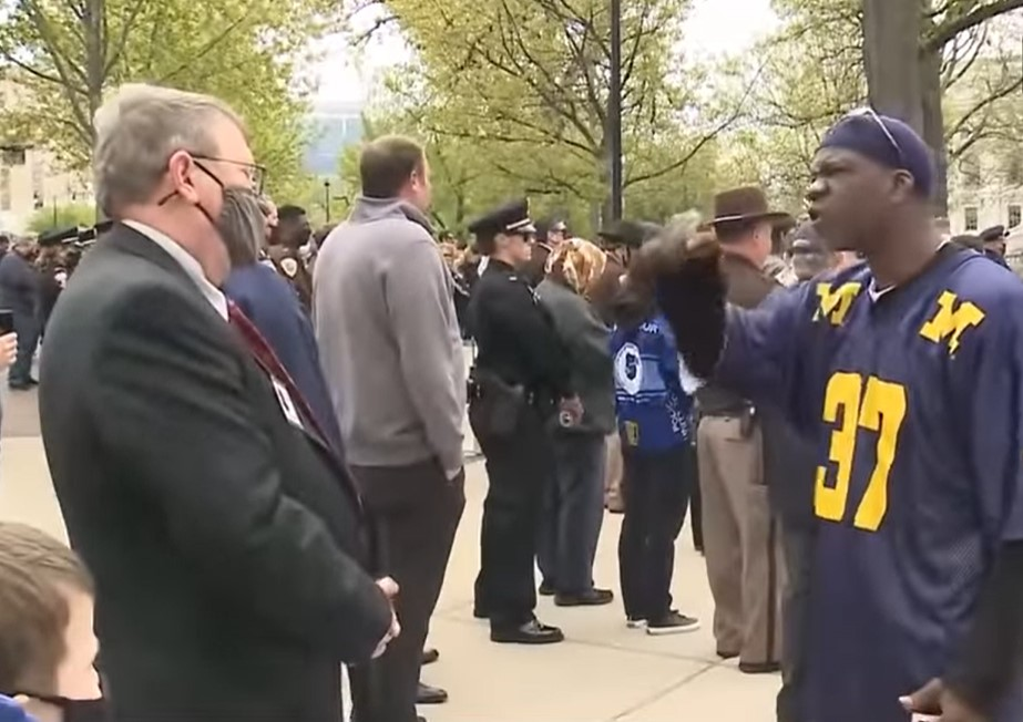 BLM protesters disrupt solemn Wisconsin Law Enforcement Memorial ceremony - Screenshot courtesy of WISN on YouTube