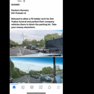 NY nursery asked to use part of parking lot for officer funeral - says 'absolutely not' then blocks it with trucks