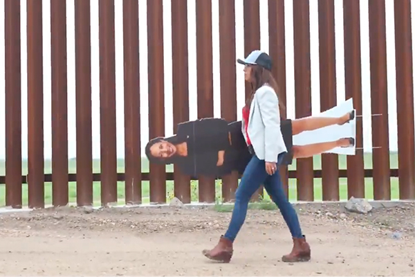 Watch: Rep. Boebert brings cardboard cutout of Harris to southern border since Harris refuses to make the trip