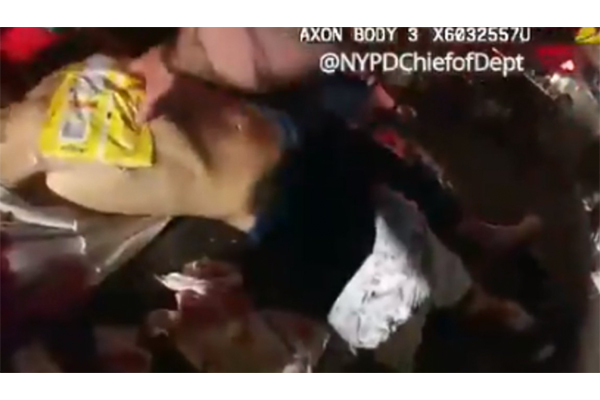 Quick thinking NYPD officer uses a bag of chips and tape to save the life of a stabbing victim
