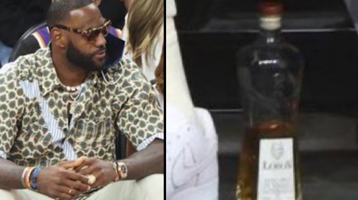 LeBron James sits courtside at NBA finals with 'snuck' in bottle of tequila