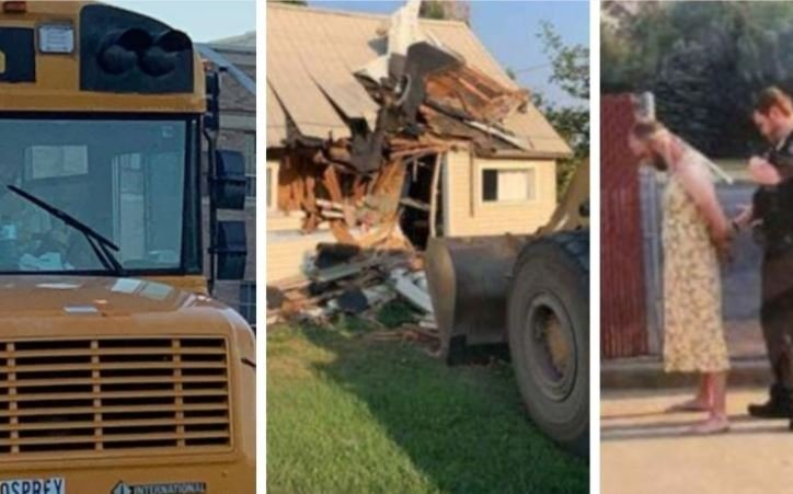 """Man steals school bus while wearing a yellow dress - """"police reform"""" law prevents cops from pursuing"""