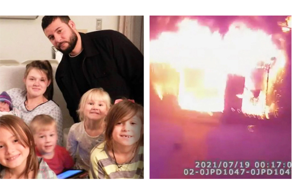 """""""I got you"""": Video shows hero police officer rescuing family from burning house"""