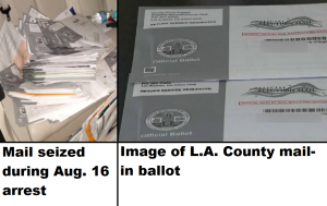 Thousands of possible mail-in ballots seized during arrest - courtesy of Terrance Police and broadcast screenshot from CBS Los Angeles