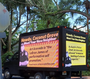 Mobile billboards are attacking Miami's police chief, as countless cops want him to resign over his history