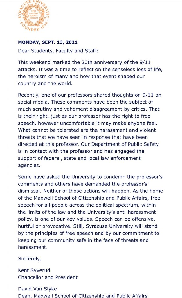 Syracuse University refuses to discipline radical anti-police professor who seemed to show support for 9/11 attacks