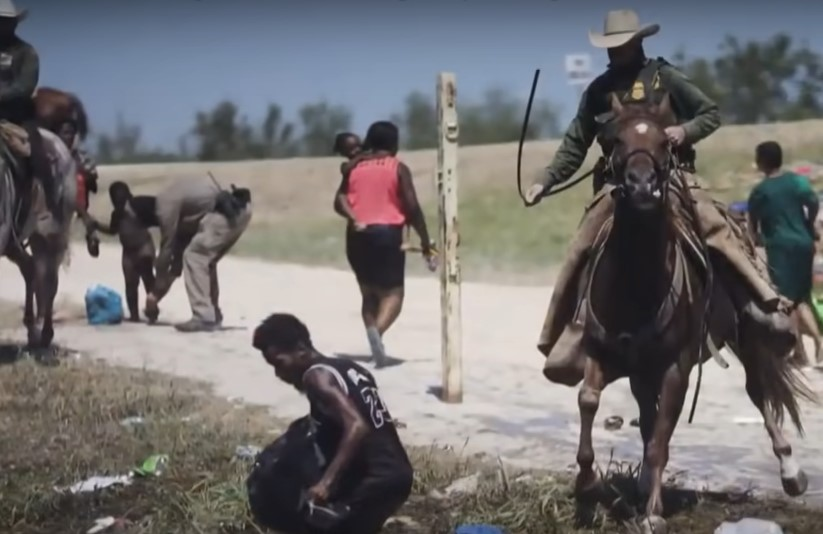 False accusations that Border patrol used whips on Haitian migrants - Screenshot courtesy of MSNBC on YouTube