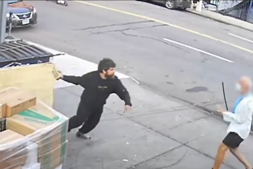 Video: Suspect accused of harassing bagel shop customers hits employee with brick