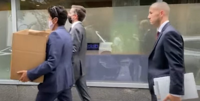 FBI agents remove boxes from the police union's Manhattan office - Screenshot courtesy ofof CBS News on YouTube