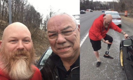 Wounded veteran has chance encounter helping General Colin Powell change flat tire