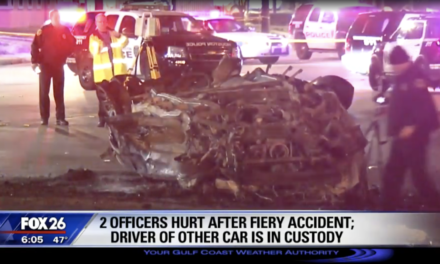Houston police officers burned in fiery crash, one critical