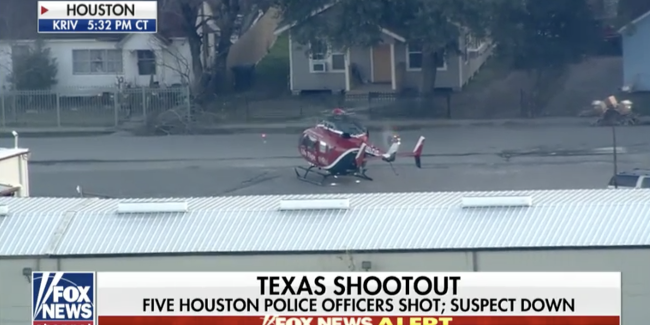 Five Houston police officers shot