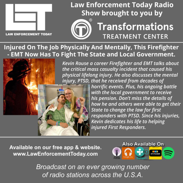 (Law Enforcement Today Podcast cover image by LET staff. Photos of Kevin Rouse from his facebook page.)