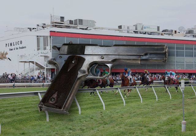 (Preakness Stakes photo at Pimlico Race Track from Maryland GovPics. File photo of .45 Caliber pistol from Public Domain.)