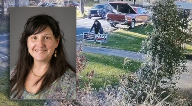 College professor caught stealing Republican yard signs