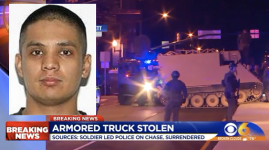 Soldier Takes Virginia State Police on Pursuit in Stolen Armored Personnel Carrier