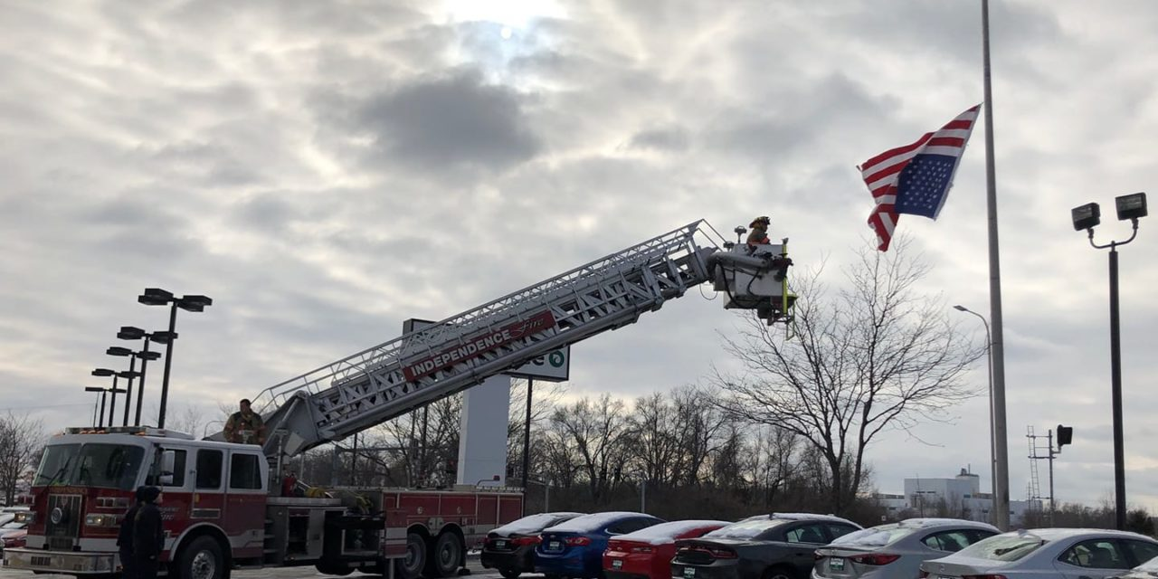 Police and Fire Restore Flag Hanging Upside Down