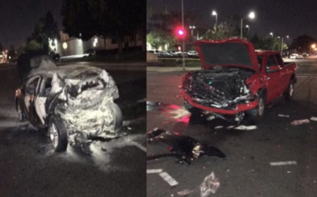 Irvine officer, good Samaritans, rescue 4 people before car bursts into flames; 1 dies in fire